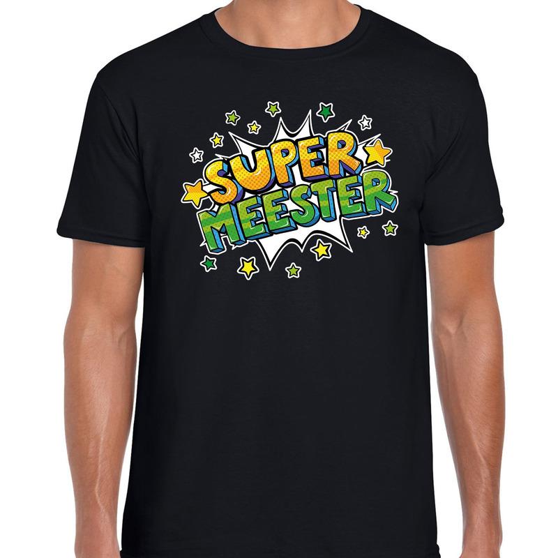 Super meester cadeau t-shirt zwart voor heren