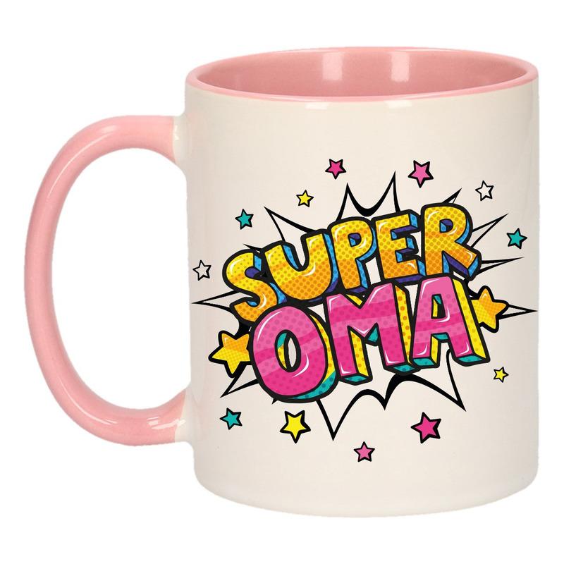 Super oma cadeau mok - beker wit en roze met sterren 300 ml