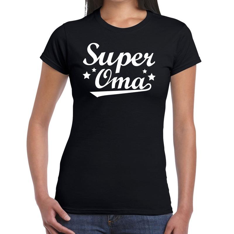 Super oma cadeau t-shirt zwart dames