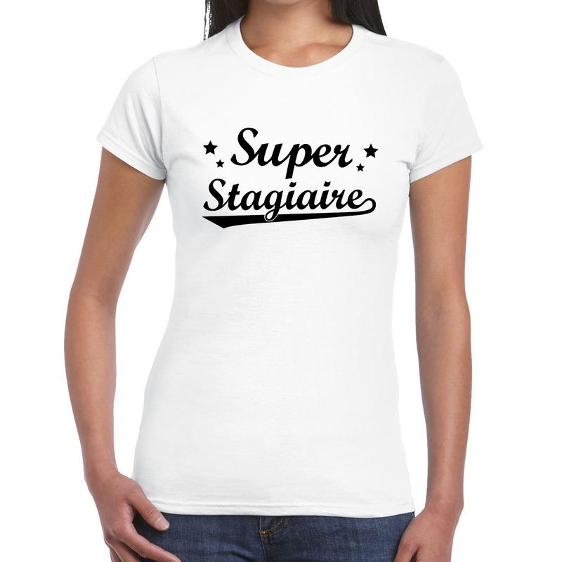 Super stagiaire cadeau t-shirt wit voor dames
