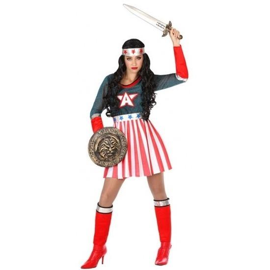 Superheld Amerikaanse kapitein verkleed pak/kostuum voor dames