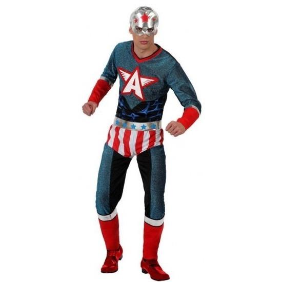 Superheld Amerikaanse kapitein verkleed pak/kostuum voor heren