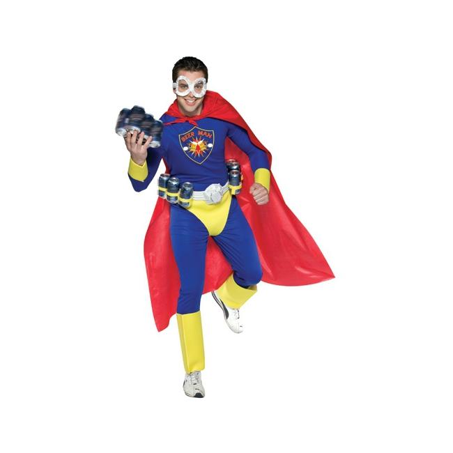 Superheld bier man verkleed kostuum