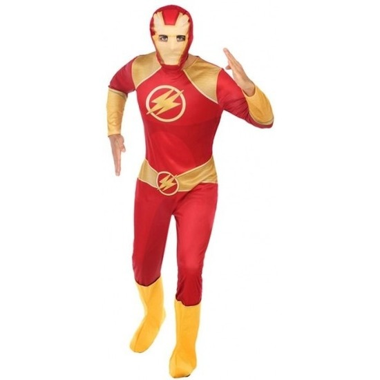 Superheld verkleed pak/kostuum rood/goud voor heren