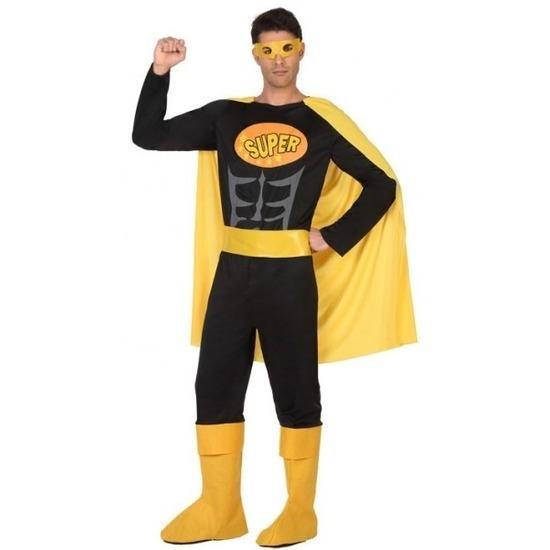 Superheld verkleed pak/kostuum zwart/geel voor heren