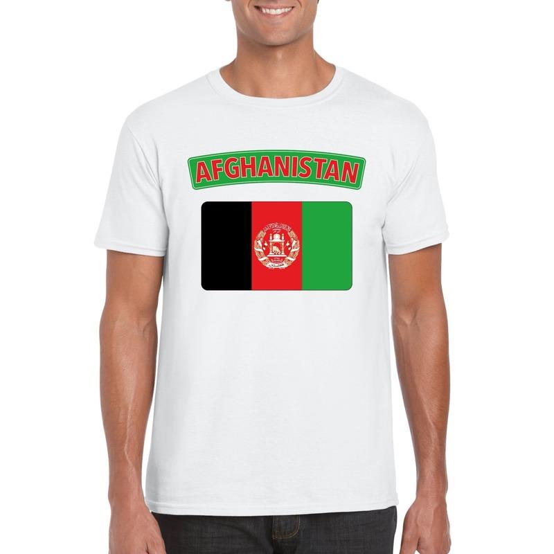 T-shirt met Afghaanse vlag wit heren