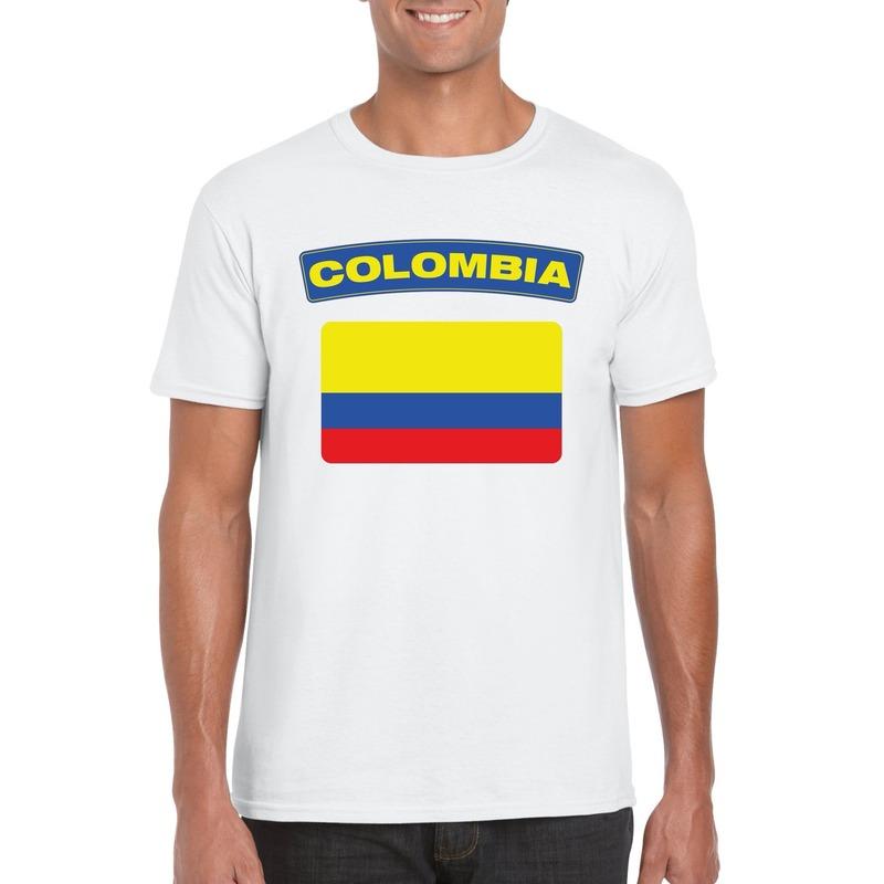 T-shirt met Colombiaanse vlag wit heren