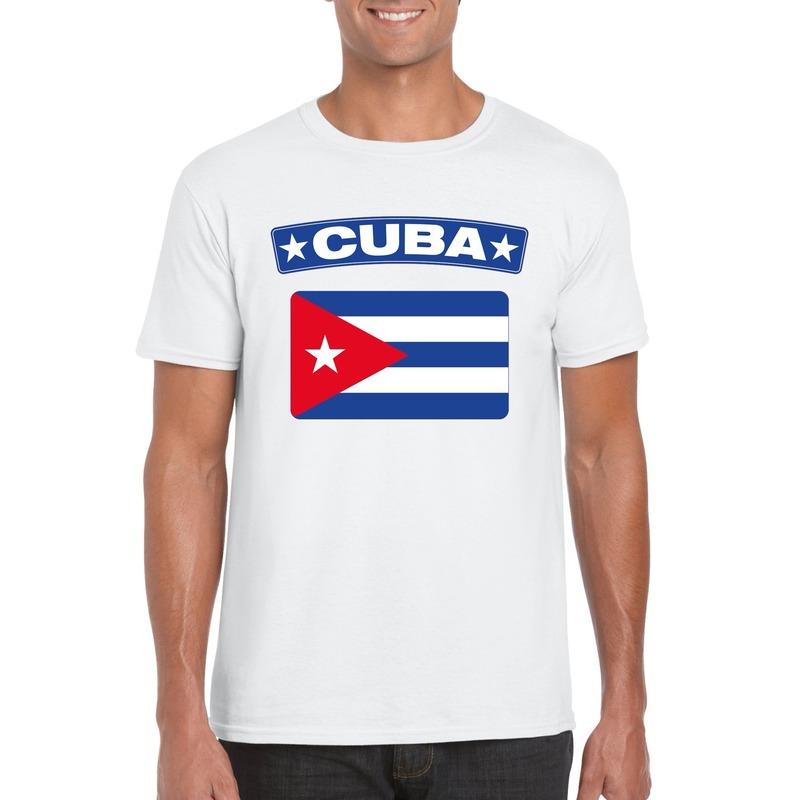T-shirt met Cubaanse vlag wit heren