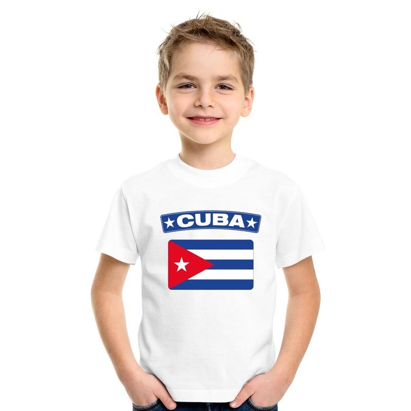 T-shirt met Cubaanse vlag wit kinderen
