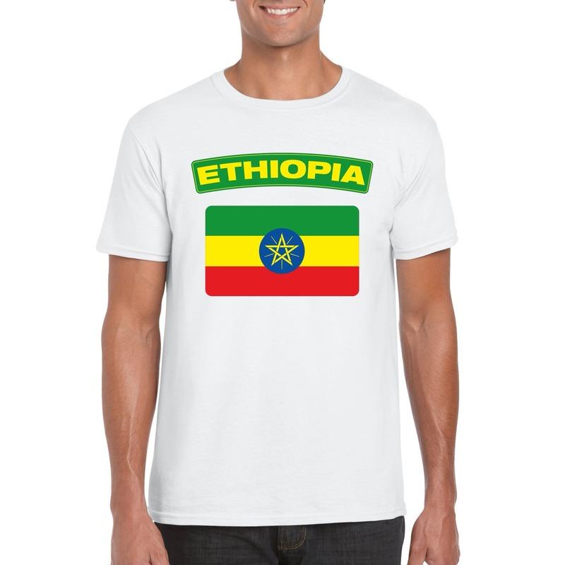 T-shirt met Ethiopische vlag wit heren