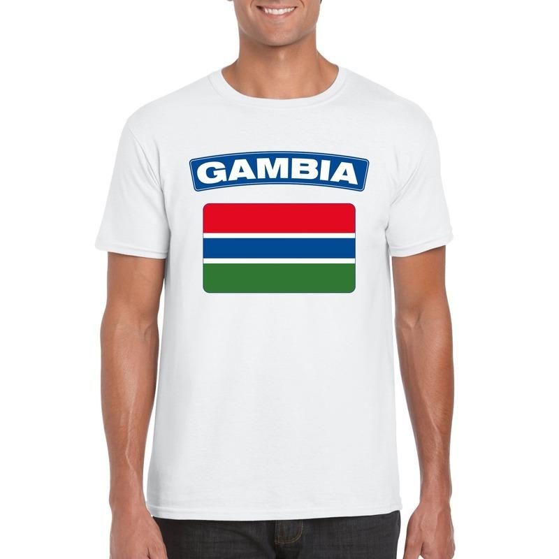 T-shirt met Gambiaanse vlag wit heren