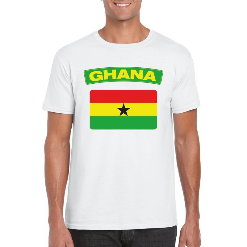 T-shirt met Ghanese vlag wit heren