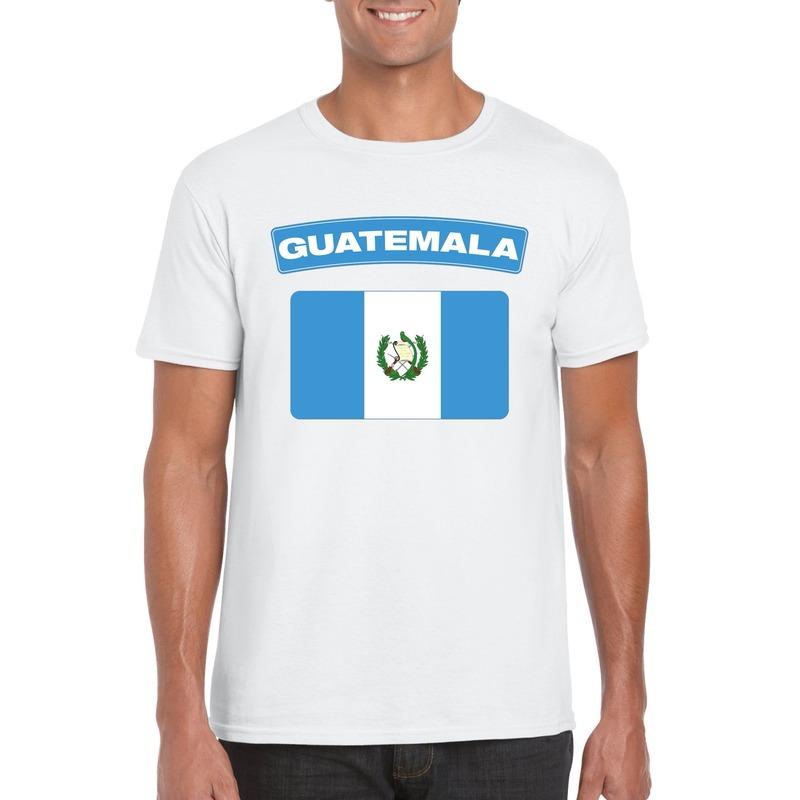 T-shirt met Guatemalaanse vlag wit heren