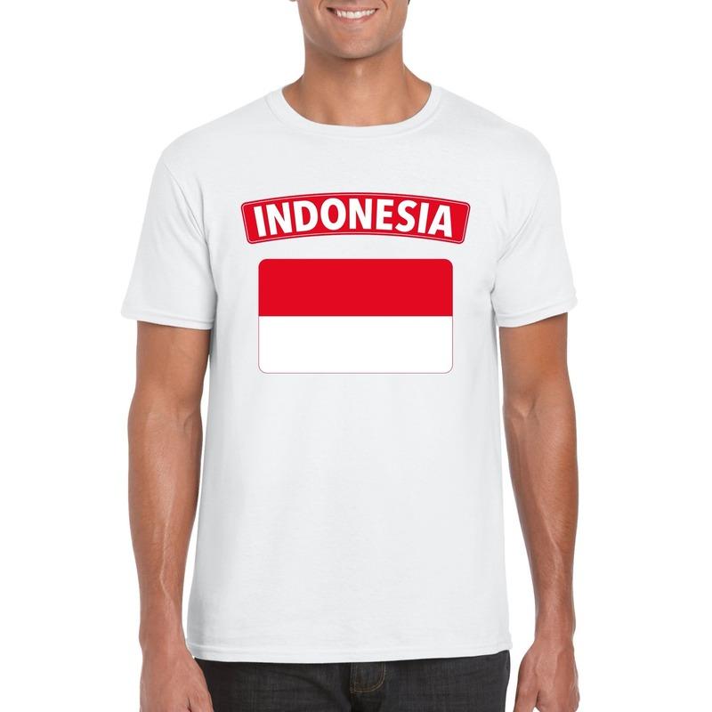 T-shirt met Indonesische vlag wit heren