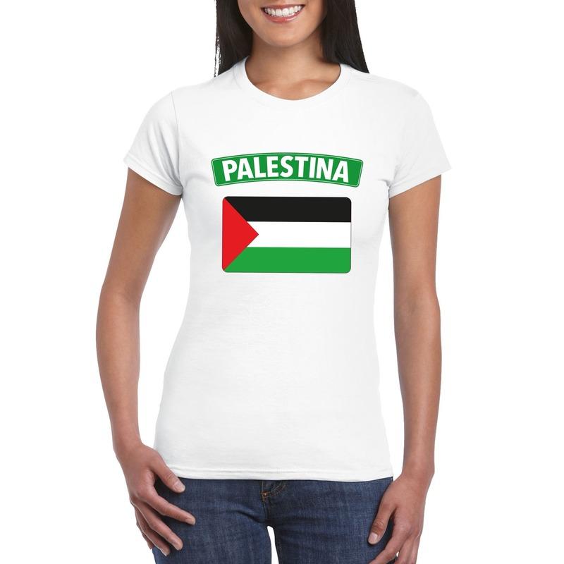 T-shirt met Palestijnse vlag wit dames