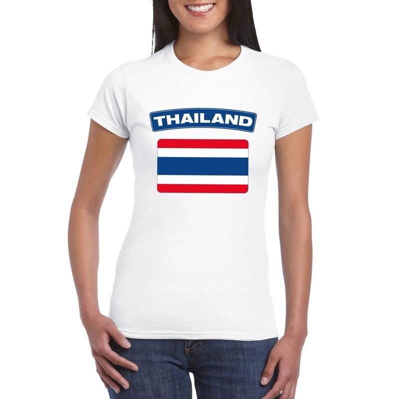 T-shirt met Thaise vlag wit dames