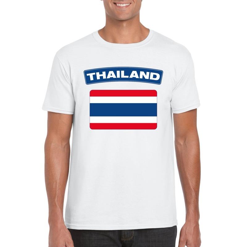T-shirt met Thaise vlag wit heren