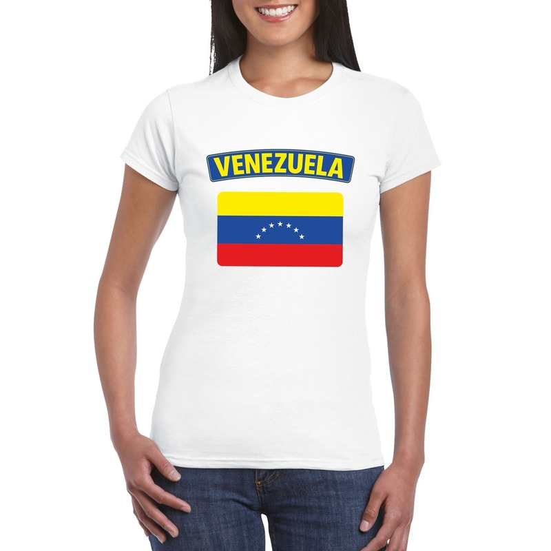 T-shirt met Venezolaanse vlag wit dames