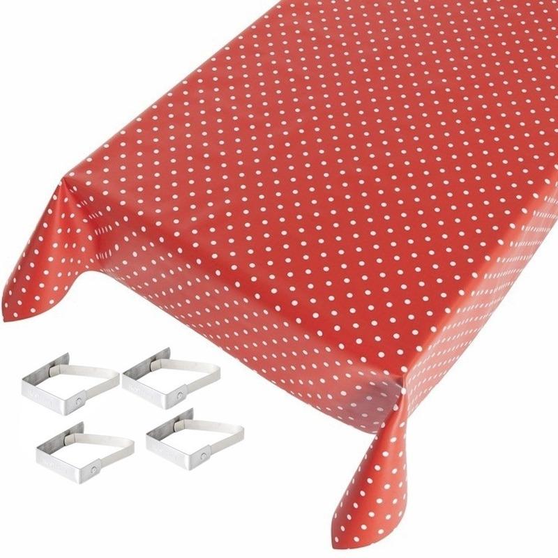Tafelkleed/tafelzeil rood polkadot 140 x 170 cm met 4 klemmen