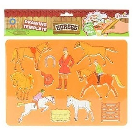 Tekensjabloon paarden oranje