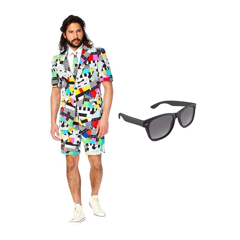 Testbeeld heren zomer kostuum maat 46 (S) met gratis zonnebril