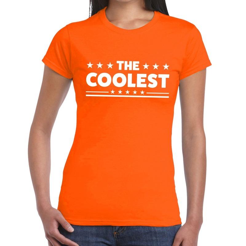 The Coolest tekst t-shirt oranje dames
