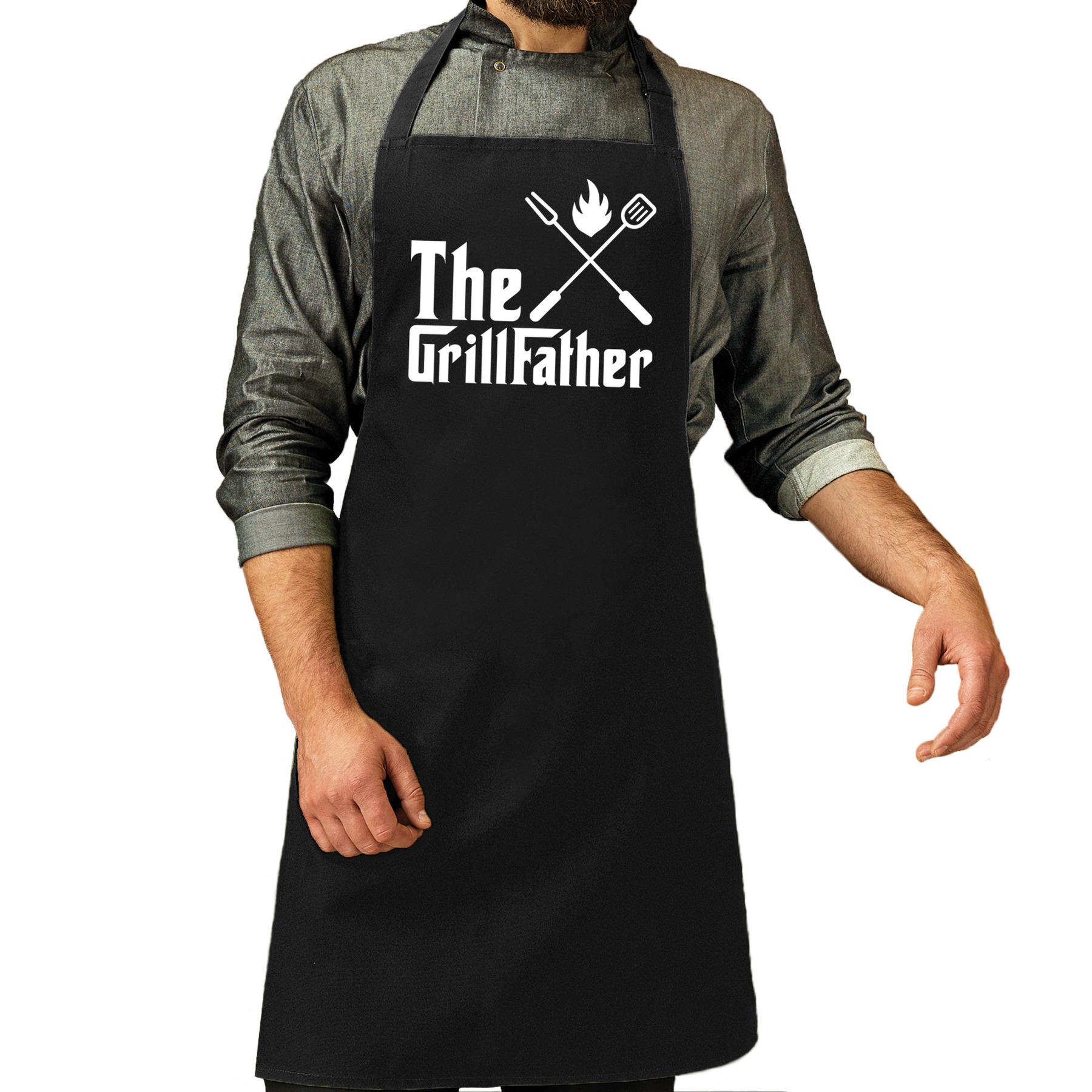 The Grillfather barbecue - bbq schort zwart voor heren