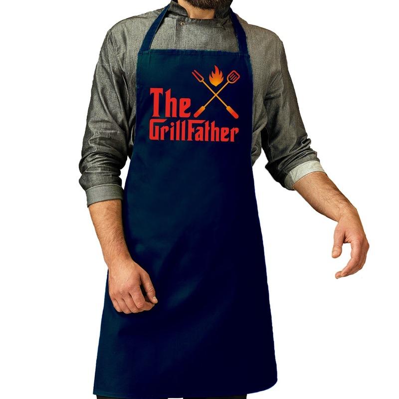 The GrillFather barbecue schort - keukenschort navy voor heren -