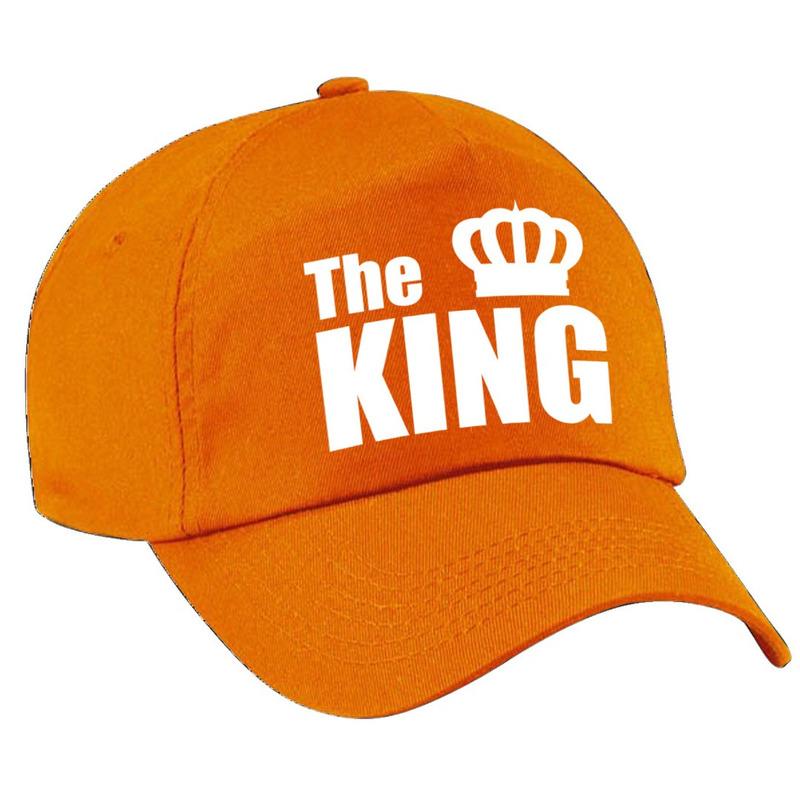 The King pet - cap oranje met witte letters en kroon heren