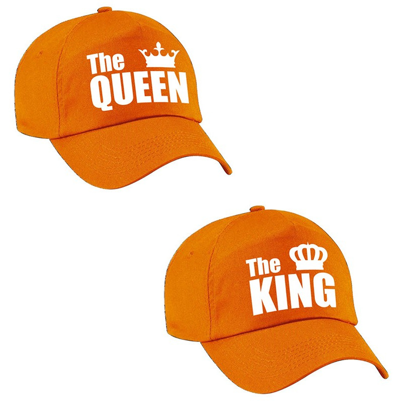 The King - The Queen petten oranje met witte kroon volwassenen
