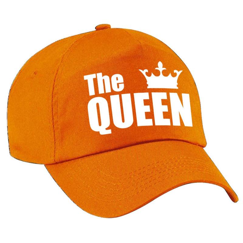 The Queen pet - cap oranje met witte letters en kroon dames