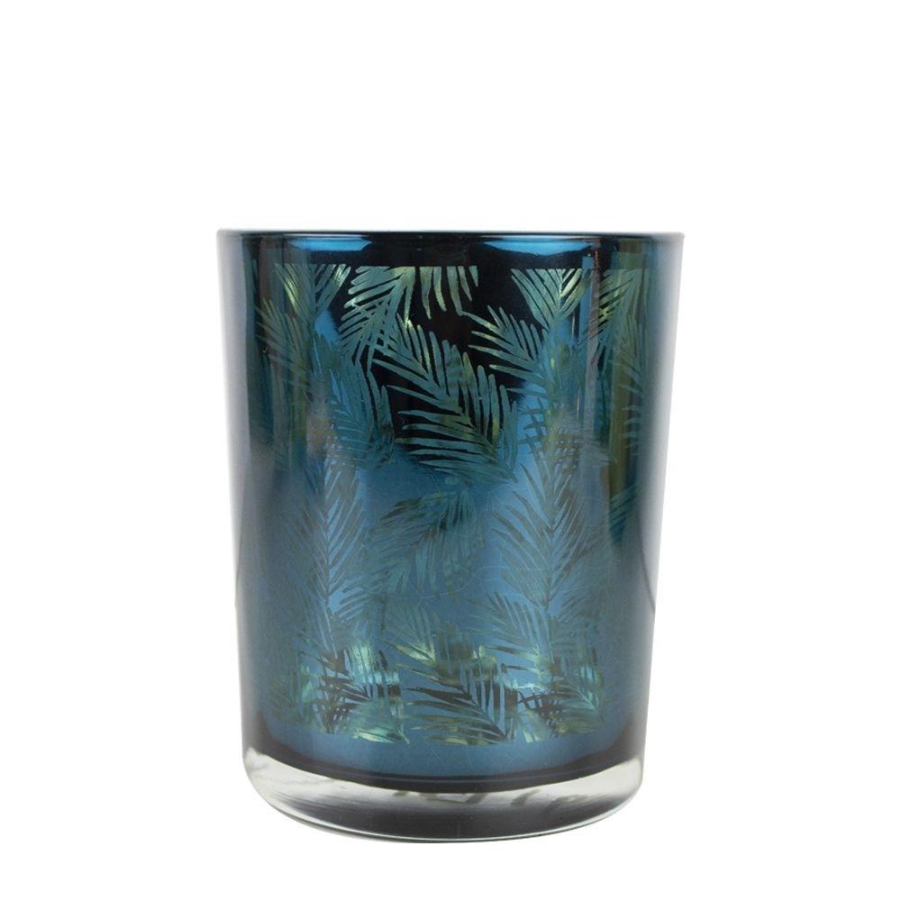Theelichthouder-waxinelichthouder glas petrol blauw 10 cm palmblad print