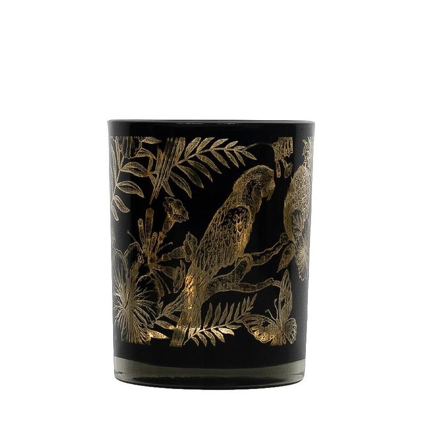 Theelichthouder-waxinelichthouder glas zwart 8 cm papegaai print