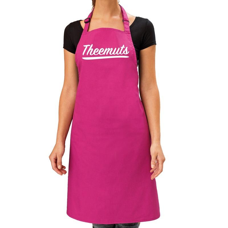 Theemuts keukenschort roze voor dames