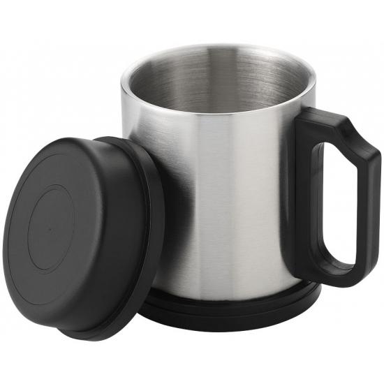 Thermos beker zilver/zwart 330 ml