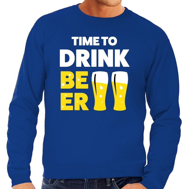 Time to Drink Beer tekst sweater blauw