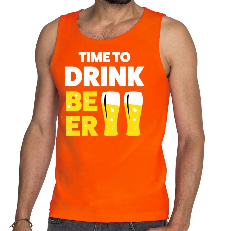 Time to Drink Beer tekst tanktop - mouwloos shirt oranje heren