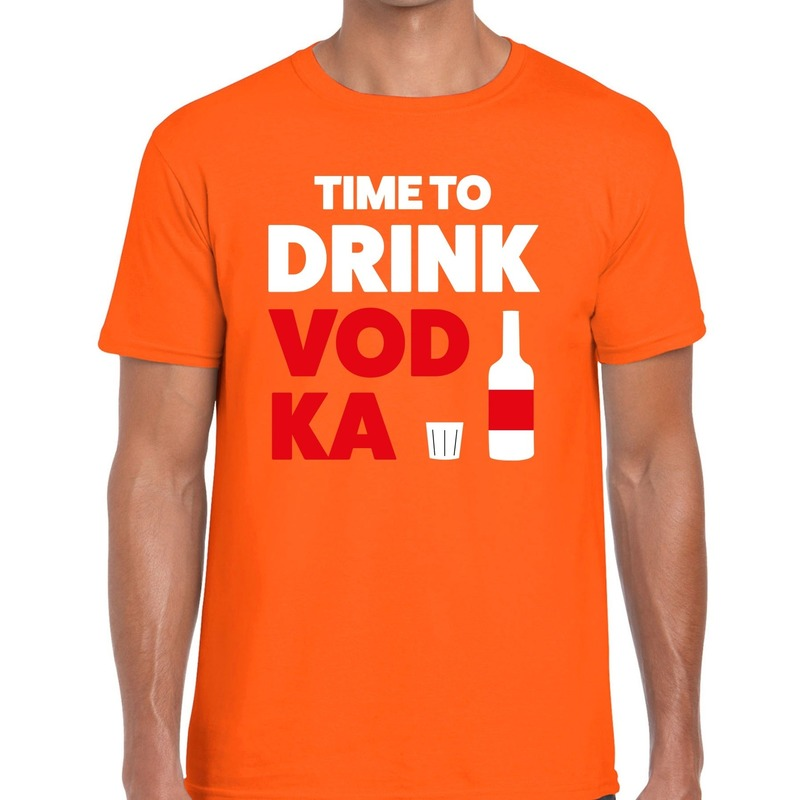 Time to Drink Vodka tekst t-shirt oranje heren