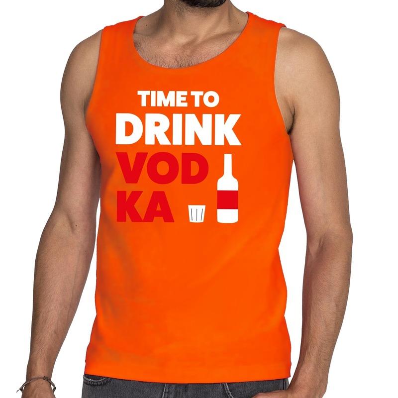 Time to Drink Vodka tekst tanktop - mouwloos shirt oranje heren