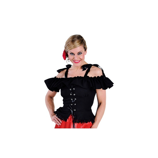 Tiroler blouse Carmen zwart