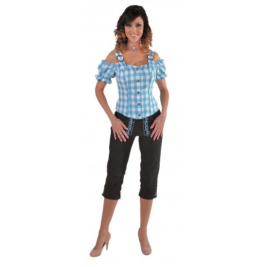 Tiroler blouse off shoulder blauw geruit