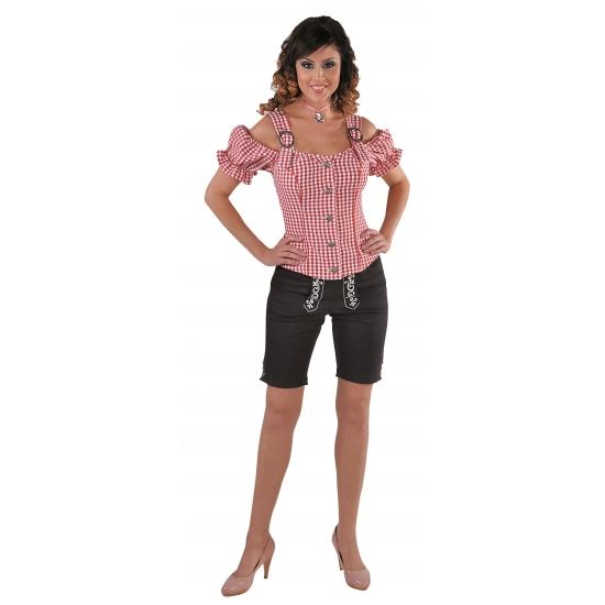 Tiroler blouse off shoulder rood geruit