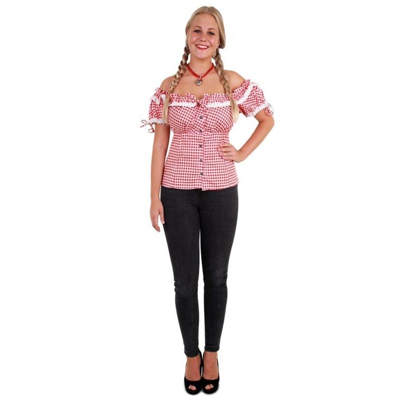 Tiroler blouse rood/wit voor dames