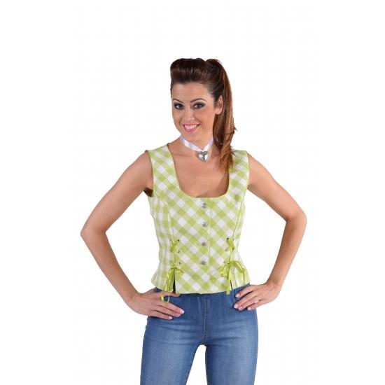 Tiroler Oktoberfest shirt mouwloos groen