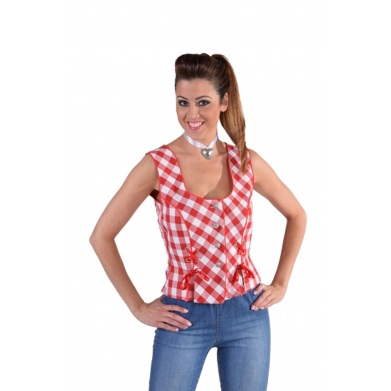 Tiroler Oktoberfest shirt mouwloos rood