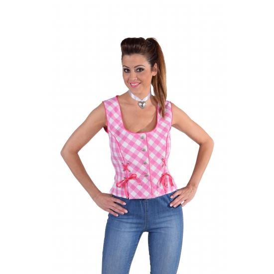 Tiroler Oktoberfest shirt mouwloos roze