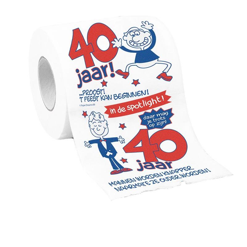 Toiletpapier 40 jaar man verjaardagscadeau decoratie/versiering