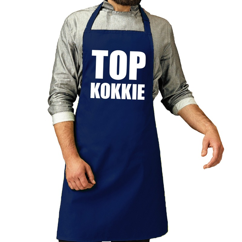 Top kokkie barbeque schort / keukenschort kobalt voor heren