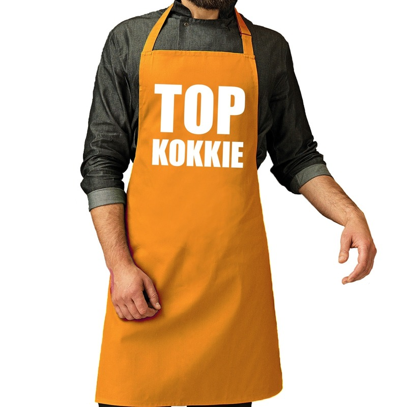 Top kokkie barbeque schort / keukenschort oker geel heren