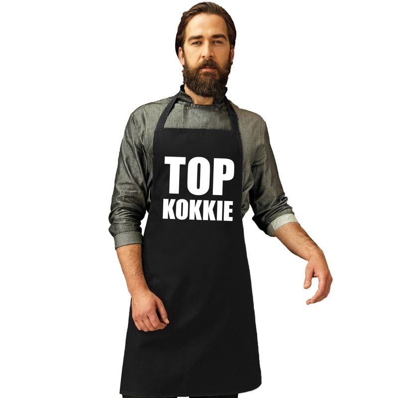 Top kokkie keukenschort zwart heren Zwart
